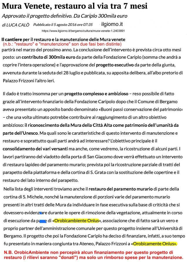 160805 Mura Venete, restauro al via tra 7 mesi - giorno.it