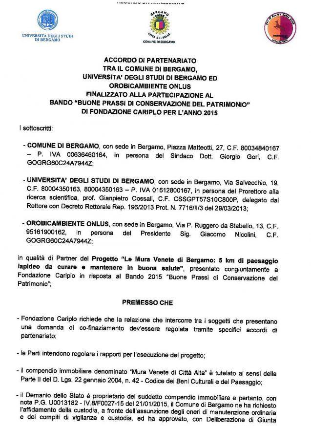 Accordo partenariato Mura Venete_firma Unibg