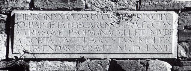 Lapide sul baluardo S.Giovanni - old rid